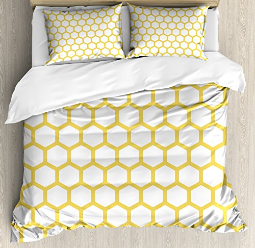 Ambesonne Yellow and White Duvet Cover Set, Hexagonal Pattern Honeycomb Beehive Simplistic Geometrical Monochrome, Decorative 3 Piece Bedding Set with 2 Pillow Shams, King Size, Yellow White