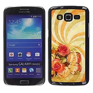 Caucho caso de Shell duro de la cubierta de accesorios de protección BY RAYDREAMMM - Samsung Galaxy Grand 2 SM-G7102 SM-G7105 - Wallpaper Spiral Hypnotic Psychedelic Art Flowers
