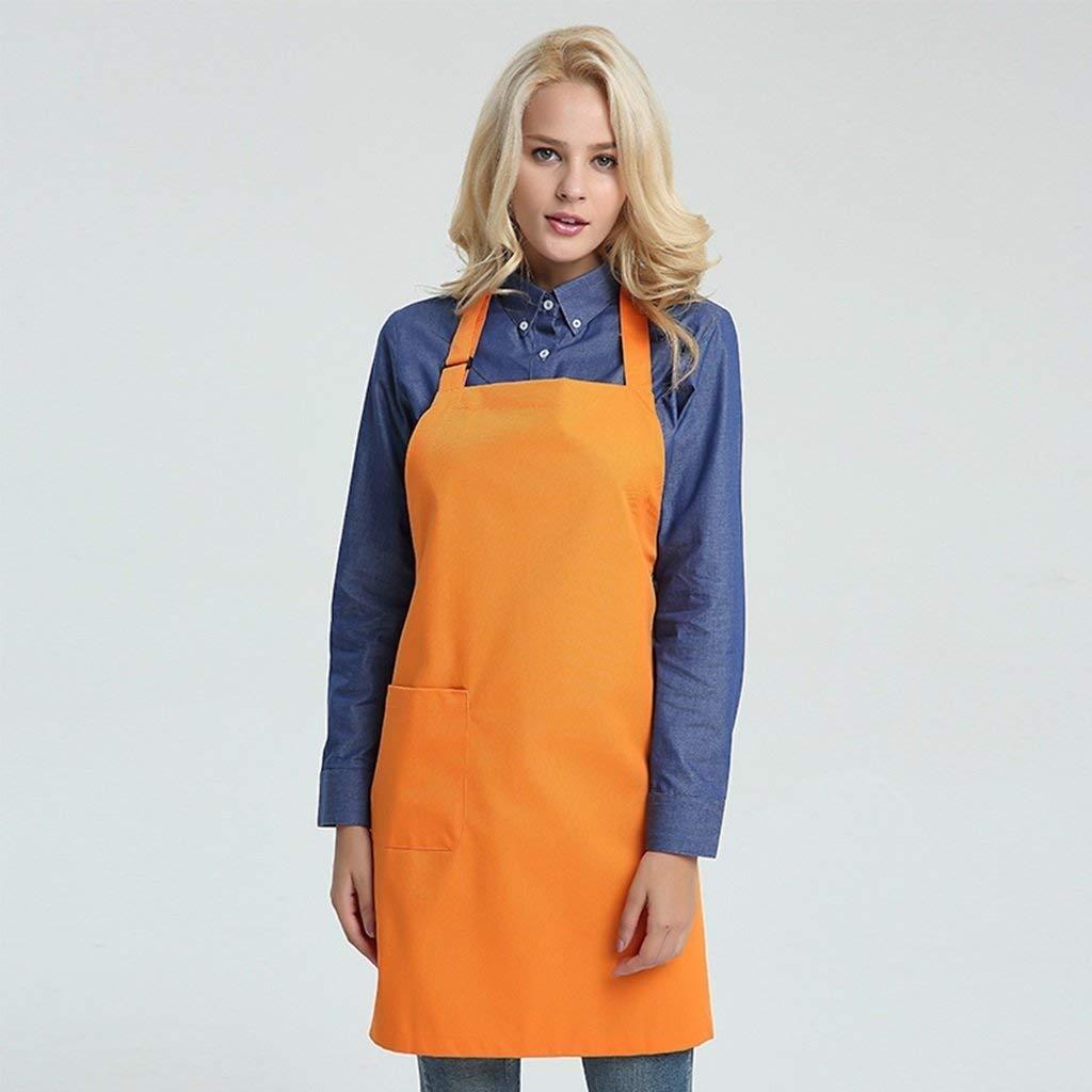 クッキングキッチンエプロンホームワークタバード エプロンプロフェッショナル品質キッチン作業服コーヒーショップシェフアダルトクリエイティブクッククックビストロ肉屋 (色 : Orange)  Orange B07QGSNP2J