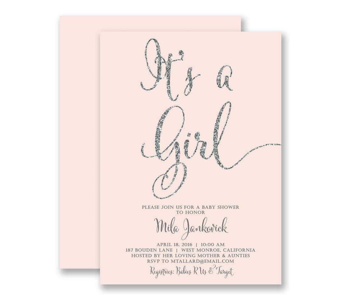 53142d2c5fea8 Pink & Silver Baby Shower Invitations It's A Girl Blush Pink Silver Glitter  Look Modern Calligraphy Elegant Contemporary Customized Party Invites - ...