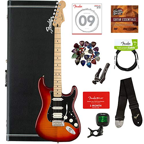Fender Player Stratocaster HSS Plus Top, Maple - Aged Cherry Sunburst Bundle with Hard Case, Cable, Tuner, Strap, Strings, Picks, Capo, Fender Play Lessons, and Austin Bazaar Instructional DVD