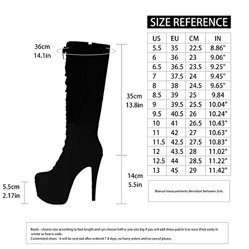 AOSPHIRAYLIAN Women's Platform Front Lace Up Knee High Boots Stiletto High Heel Boots