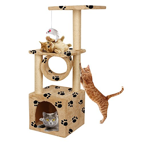 YOHOZ 36in Deluxe Faux Fur Level Cat Tree Condo Furniture Climbing Activity Tower Scratching Scratcher Post Kittens Pet Play House and Tunnel Play Toy - With Post Cat Hammock