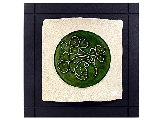 (Modern Artisans Celtic Shamrock Ceramic Art Tile Wall Hanging, 7.5
