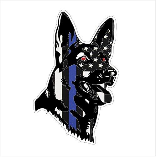 Stickernaut K9 Police Thin Blue Line Sticker for Water Bottles [Premium Matte Waterproof Vinyl]