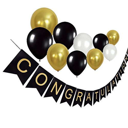 IDOXE Graduation Party Banner Decoration Personalized 2018 Black and Gold CONGRATULATIONS Graduate Signs Balloons Party Supplies (Personalized Party Balloons)