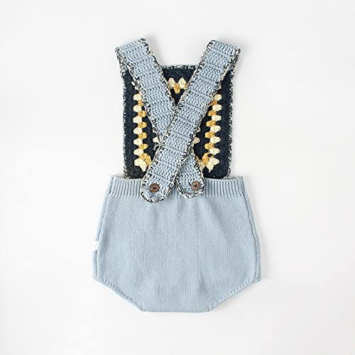 HMAIL Baby Girl Boys Knitted Sleeveless Square Collar Romper Newborn Bodysuit Toddler Cross Strap Jumpsuit