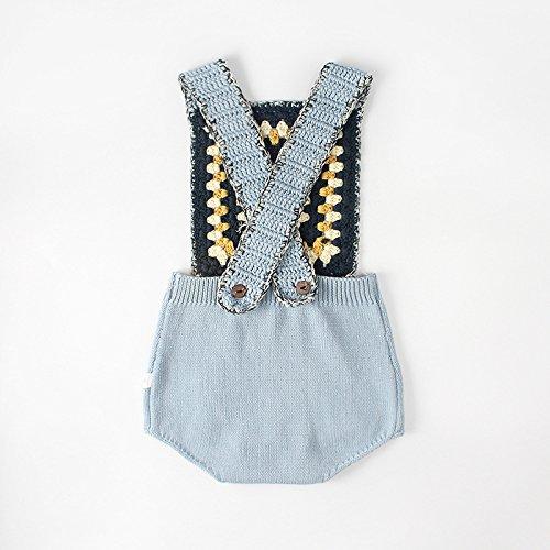 Pinleck Newborn Baby Girls Knit Strap Romper Geo Graphic Striped Jumpsuit Bodysuit by Pinleck (Image #4)