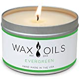 Wax and Oils Soy Wax Aromatherapy Scented Candles (Evergreen) 8 ounces. Single