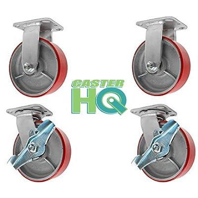 "2 Swivel with Brakes /& 2 Rigid Casters CasterHQ 6/"" x 2/"" Steel Wheel Casters"