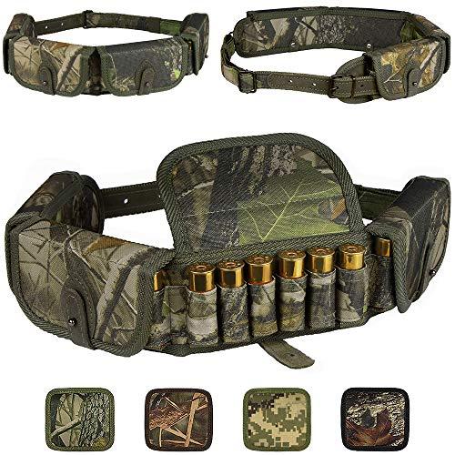 (BronzeDog Shotgun Shell Holder Nylon Belt Case Hunting Accessories Waterproof Shotshell Bandolier 12 16 Gauge Cartridges (Green Oak Camo))