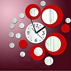 Mirror stickers,vmree Modern Mirror Style Wall Clock Removable Decal Art Sticker Decor (Red)