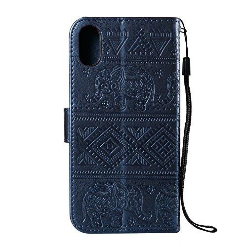 Funda iPhone X / 10, CaseLover Piel Libro Cuero Elefante Impresión Carcasa para iPhone X / 10 con TPU Silicona Case Cover Interna Suave Flip Folio Tapa y Cartera Cierre Magnético, Función de Soporte,  Azul Oscuro