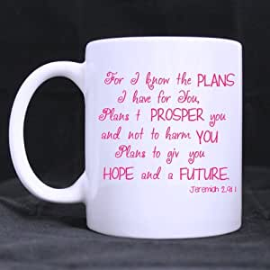 Novelty Design 11oz Bible Verse Mug - Jeremiah 29:11 For I Know The Plans I Have For You White Ceramic Coffee Mugs Cup - Top Quality
