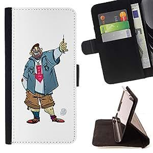 Jordan Colourful Shop - dude guy man criminal smile caricature For Apple Iphone 4 / 4S - < Leather Case Absorci????n cubierta de la caja de alto impacto > -