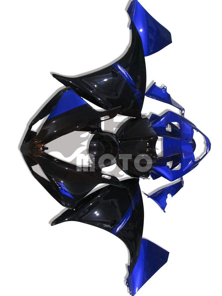 FlashMoto yamaha ヤマハ YZF-1000 R1 2009 2010 2011用フェアリング 塗装済 オートバイ用射出成型ABS樹脂ボディワークのフェアリングキットセット (ブラック,ブルー)   B07LF3G8BW
