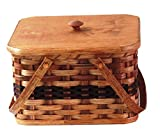 amish baskets and beyond - Amish Handmade Square Double Pie Basket w/Inside Tray, Lid Two Swinging Carrier Handles (Wine w/o Liner, Regular)