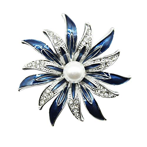 ihuoshang Enamel Redbud Flower Brooches for Women Men Clothes Accessories Corsage Purple Blue Enamel Flower Brooch Pins Hijab Pins,Blue