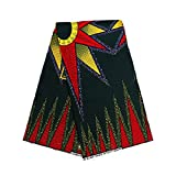 NestYu Women Dashiki Batik African Wax Fabric Soft Plush Apparel Fabric Blackish Green OS