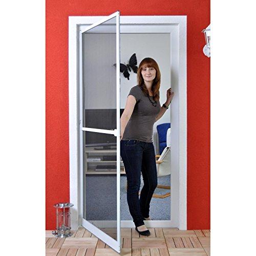 Premium Slim Fliegengitter für Tür als Alubausatz mit Fiberglasgewebe - Profi Insektenschutz - 100 cm x 210 cm weiß