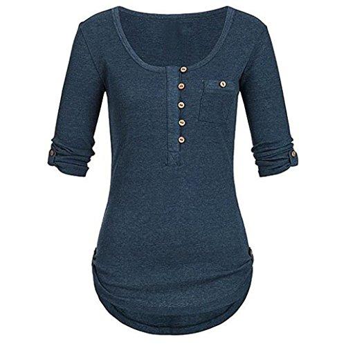 Teresamoon Women's O Neck Casual Blouses Round Hem Henley Shirts (Stretch Denim Tank Dress)