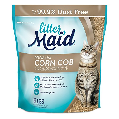 LitterMaid Premium Clumping Corn Cob Litter, 9-Pound (pack of 3) - Corn Cob Litter