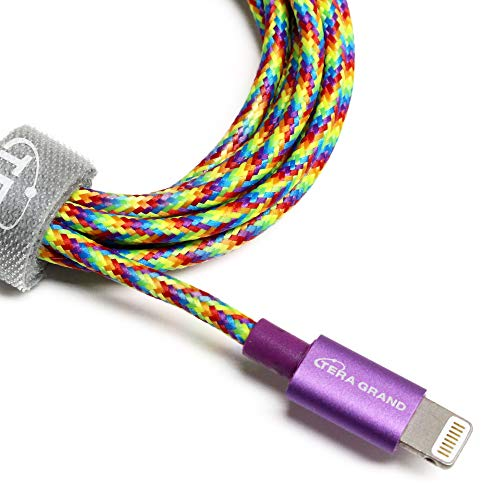 [Apple MFi Certified] Tera Grand Lightning to USB Braided Cable with Aluminum Housing, 4 Feet for iPhone Xs XS Max XR X 8 8 Plus 7 7 Plus iPad Pro Air Mini iPod (Rainbow)
