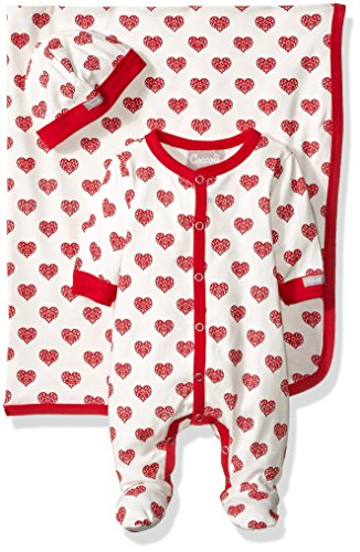Heart Print Jersey Knit Cotton Footie Cap Blanket Set, Cranberry/Almond Hearts, Newborn ()