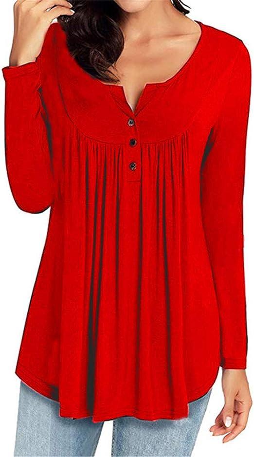 Hoverwin Camisas Mujer Casual Manga Larga Blusa Delgado Color Sólido Cuello en V Botones Tops Blusa Túnica (M, Rojo): Amazon.es: Hogar