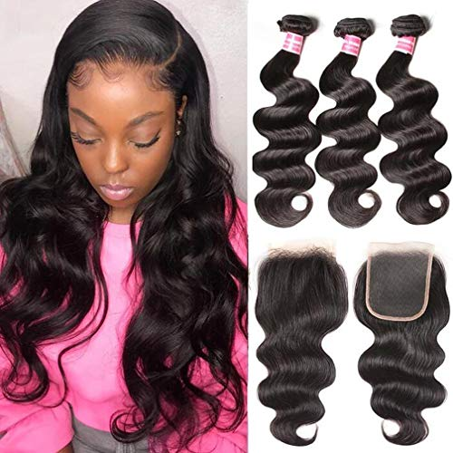 Sunber 10A Brazilian Body Wave Virgin Hair with Closure 3 Bundles with Lace Closure Free Part 100% Unprocessed Human Hair Bundles Weave Extensions Natural Black Color (20 22 24with 18)
