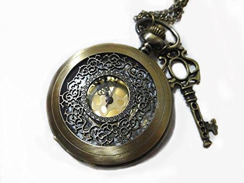 Magical Key Ornate Pocket Watch Necklace - Steampunk Larg...