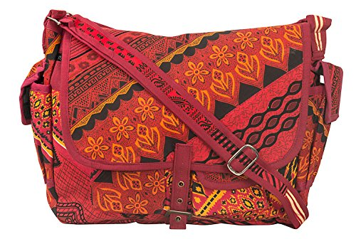 Tribe Azure Large Patchwork Canvas Crossbody Messenger Hobo Shoulder Bag Travel Laptop School Versatile Pockets Multi-functional Adjustable Satchel Boho (Red)
