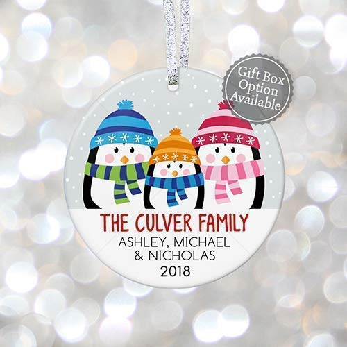 (Family of Three Christmas Ornament 2019, First Xmas as a Family of 3 4 5 6, Personalized with Names, Mommy Daddy New Baby Penguin - 3