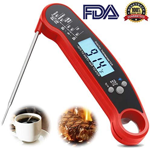 Termómetro Digital de Cocina - Impermeable Termómetro Inoxidable con Lectura Instantánea Pantalla LCD y Plegable de la...