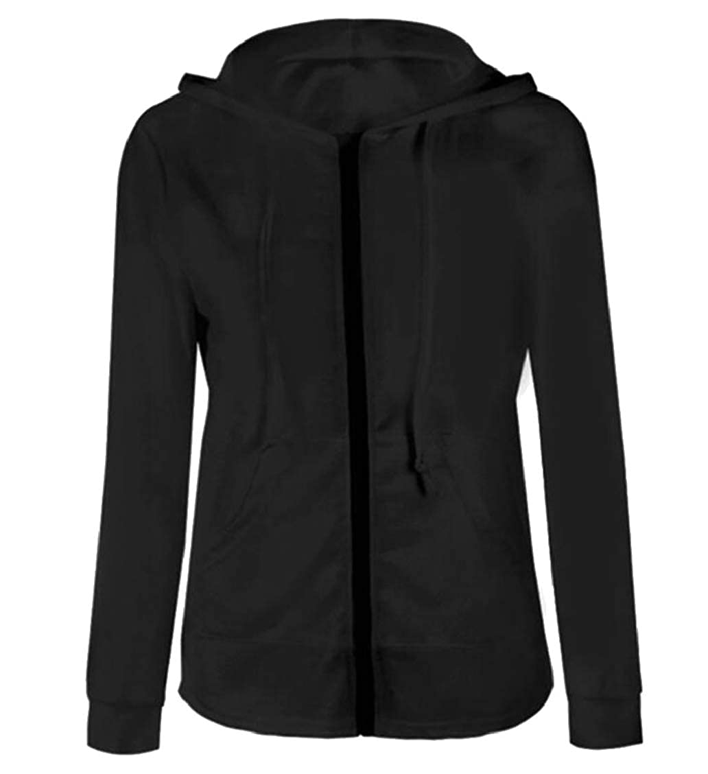 Womens Hooded Slim Fit Solid Long Sleeve Zipper Sweatshirt Jackets