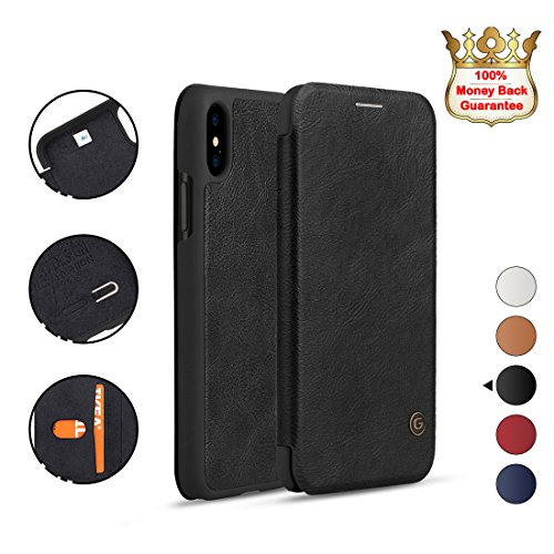 iPhone X Case,iPhone 10 Case,G-CASE [Business] Slim Fit Vegan Leather Wallet Flip Case,Support Wireless Charging, Multifunctional Card Holder,Shockproof Protective Cover for iPhone X/10(2018)-Black