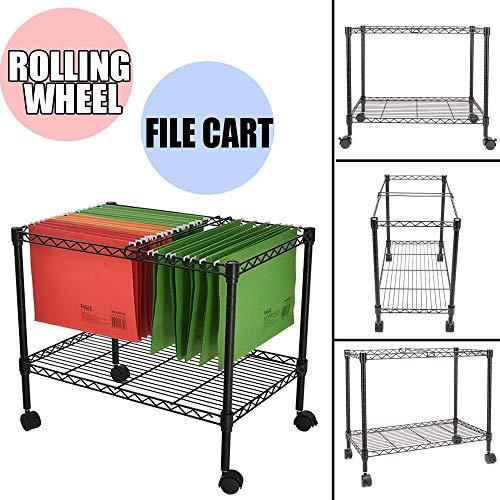 (File Cart,Rolling Metal File Organizer Single Tier File Storage Mobile Office File Cart with Swivel Wheels Office Furniture Black)