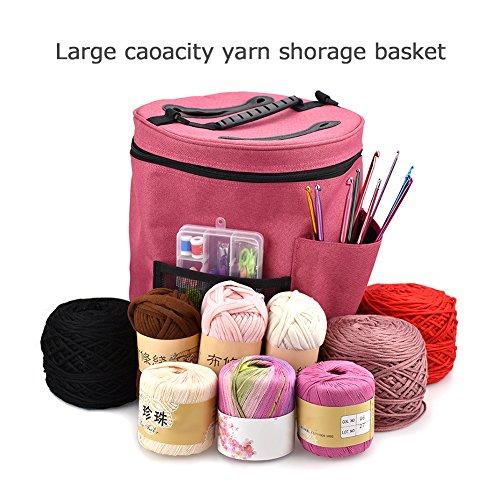 Sundlight Knitting Bag, 28cmx32cm Large Yarn Storage Bag Organizing Crochet and Knitting Needles Hooks Yarn Holder with Pockets Protect Wool by Sundlight