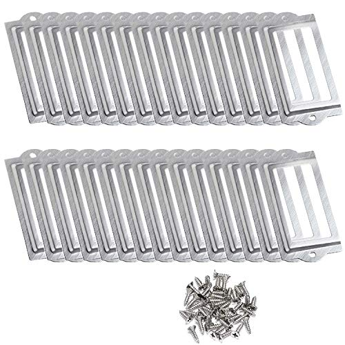 D-Worthy 30 Pieces Metal Office Library File Drawer Cabinet Card Tag Label Holder Frames with Screws (Silver Tone) (Drawer Label Holders)