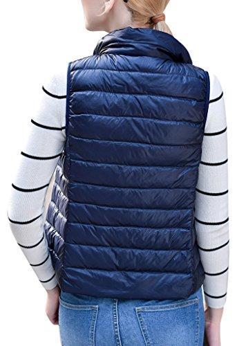 Women's Stylish Lightweight Packable Down Puffer Sleeveless Fall & Winter Vest Navy US Large(Asian 3XL) by HENGJIA (Image #3)