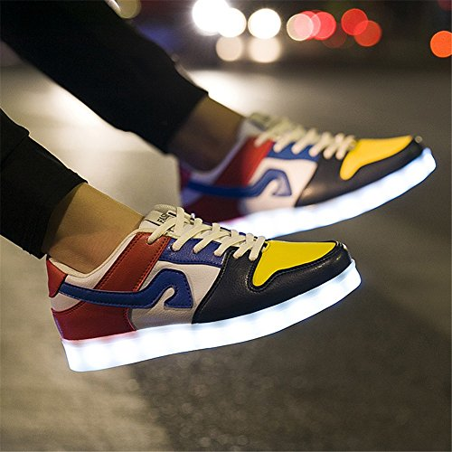 LED Couples Chaussures LED Lovers Chaussures 7 Couleurs Hommes Casual Chaussures Femmes Bas-Top Sneakers Mode Pont Chaussures USB Chargable Printemps Automne (Color : A-44) A-43 85NIwlSE