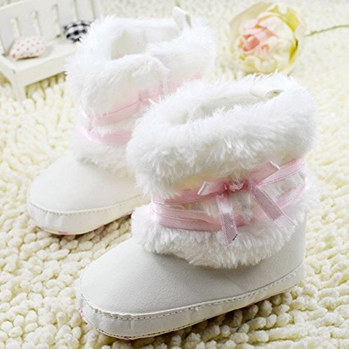 Images of Baby Infant Bowknot Boots Soft Crib Shoes White