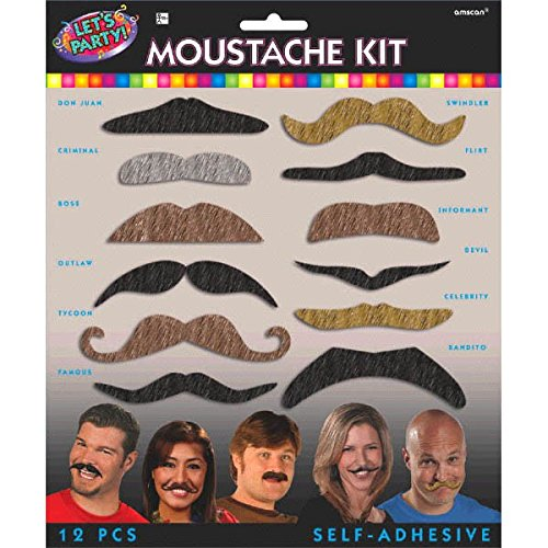Party Perfect Birthday Party Lets Party Assorted Mustache Kit Accessory, Felt, Pack of 12 ()