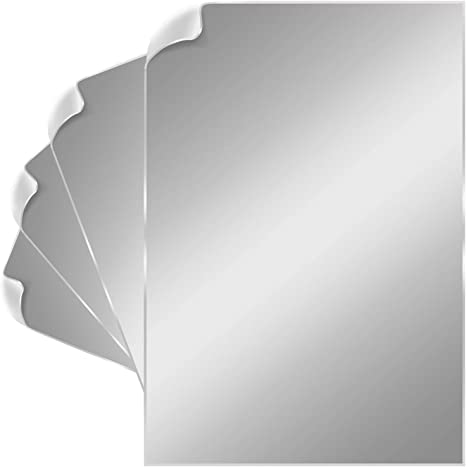 Amazon Com Strong Mirror Tiles Mirror Wall Stickers Set Of 4 6 X 9 Inch Self Adhesive Acrylic Mirror Sheets Ultra Flexible 1mm Thickness Peel Off Protective Layer Ideal For
