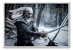 Game Of Thrones White Walker Poster Magnetic Notice Board Silver Framed - 96.5 x 66 cms (Approx 38 x 26 inches)