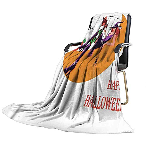 ZSUO Blanket Witch,Halloween Flying Bats Moon Throw Blanket Size:60