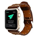 Wrist Watch Band, Winhurn Handcraft Leather Strap Belt for Apple Watch 42mm 2017 (brown)