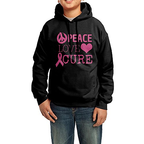 Peace & Love Plus Size Costumes (Peace Love Cure Breast Cance Heart Toddler Hoodies Pullover Hooded Sweatshirts M)