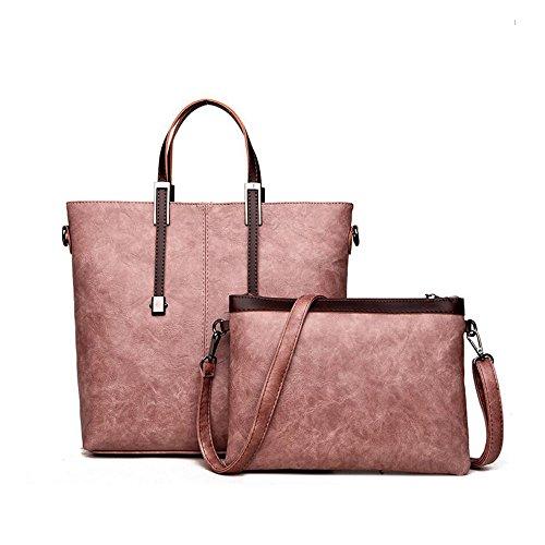 Bolsos de hombro de cuero de la PU de las señoras Bolsos de los bolsos con con el bolso pequeño de la manera 2pcs Set Set Tote Bag para las mujeres GAOLIXIA ( Color : Konjac flour , tamaño : One size Konjac flour