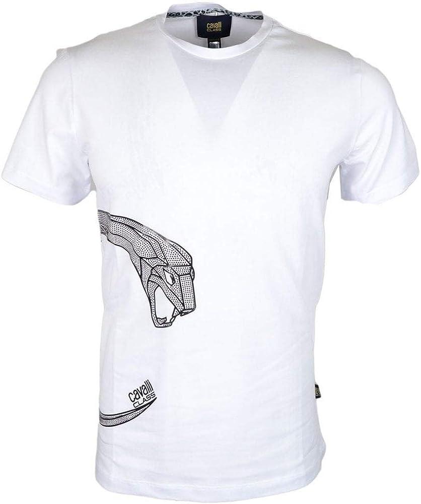Cavalli Class Jersey Stretch Cotton White T-Shirt